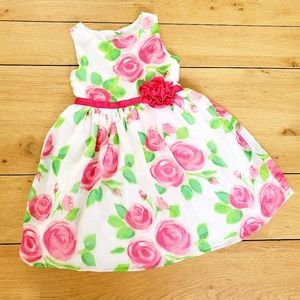 Youngland White and Pink Rose Dress